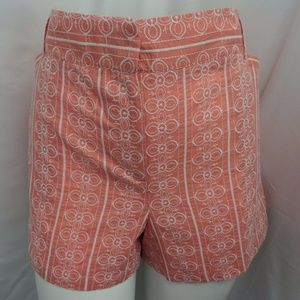 PEACH & WHITE EMBROIDERED CASUAL BOHO SHORTS